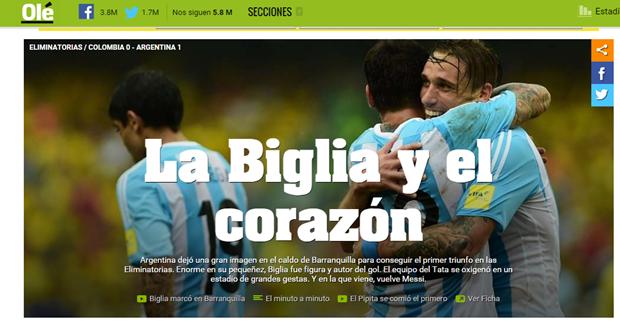 Brillante actuación, gol y victoria para Lucas Biglia con la selección