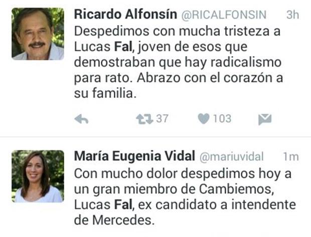 María Eugenia Vidal y Ricardo Alfonsín dedicaron mensajes de aliento.
