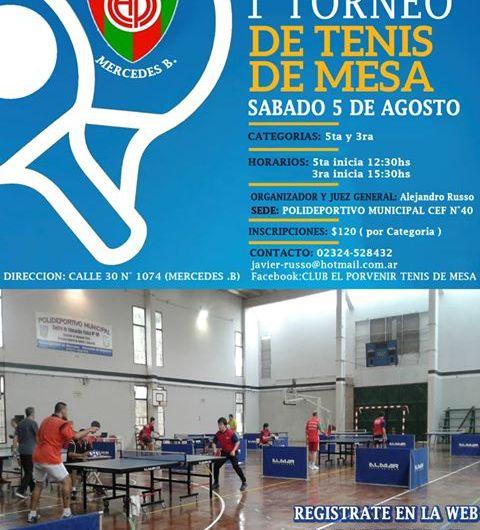 Se realizará el 1° torneo de Tenis de Mesa
