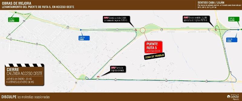 Habilitarán el paso de Ruta 5 a Acceso Oeste en febrero
