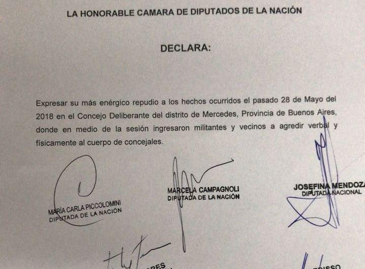 Diputados Nacionales y Provinciales repudian los hechos violentos en el HCD Mercedes