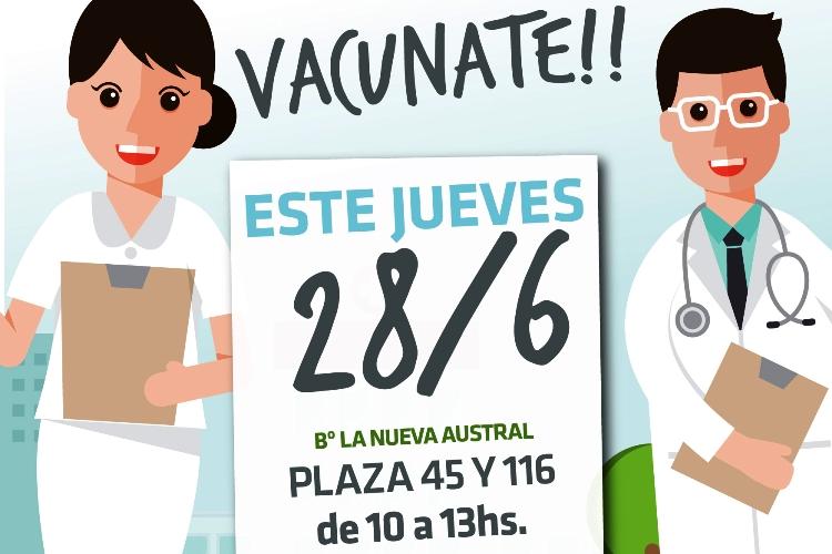 Este jueves habrá vacunación en el barrio La Nueva Austral