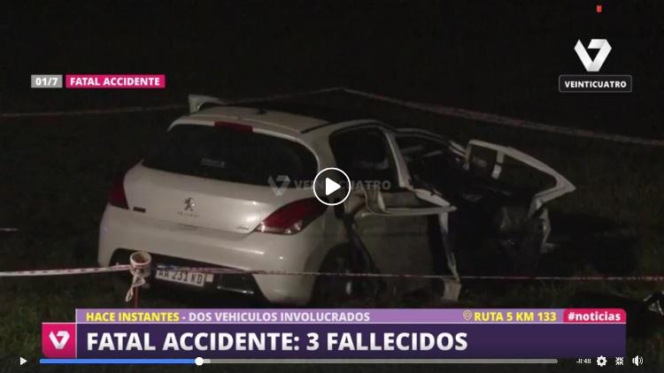 Siniestro vial en Ruta 5: Tres fallecidos (Video)