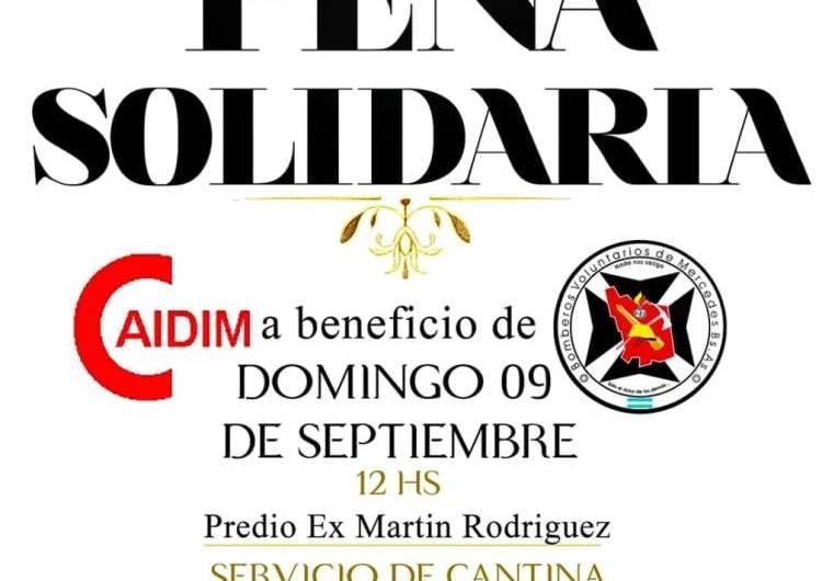 Habrá una peña solidaria a beneficio de CAIDIM y Bomberos