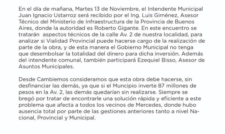 Avenida 2: Vialidad Provincial y una reunión sin novedades para Mercedes