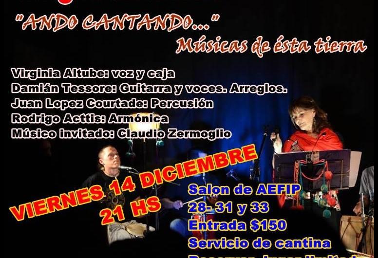 Virginia Altube andará cantando este viernes 14