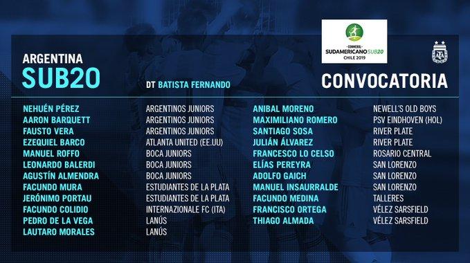 Santiago Sosa jugará el Sudamericano de Chile con la Selección Sub 20