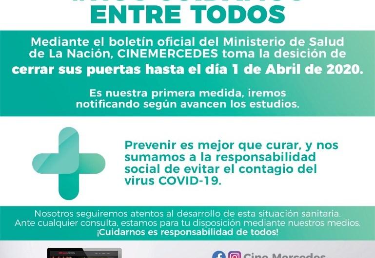 Coronavirus: Cine Mercedes cierra sus puertas hasta el 1° de abril