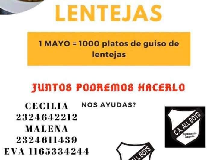 Solidaridad: Entregarán 1000 platos de guisos de lentejas