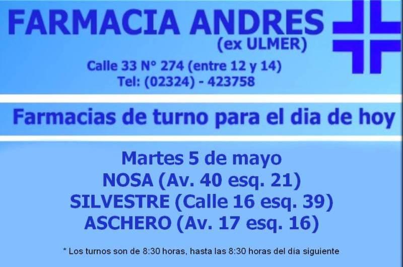 Farmacias de turno día martes 5 de mayo