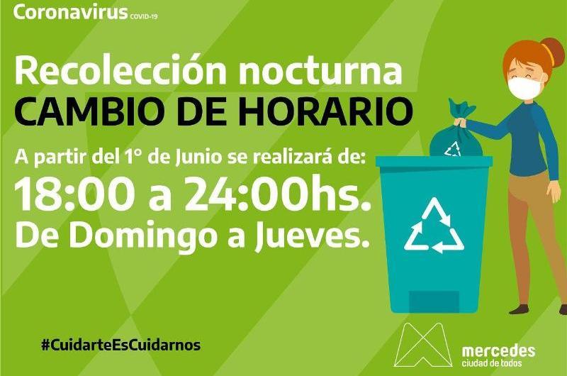 Cabios en el horario de recolección de residuos