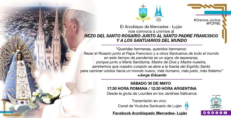 Invitan a rezar el rosario junto al Papa