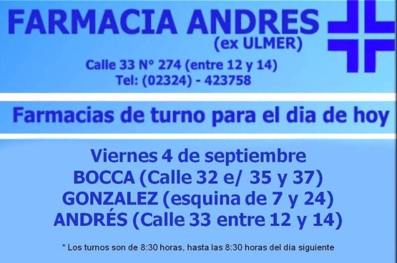 Farmacias de turno día viernes 4 de septiembre