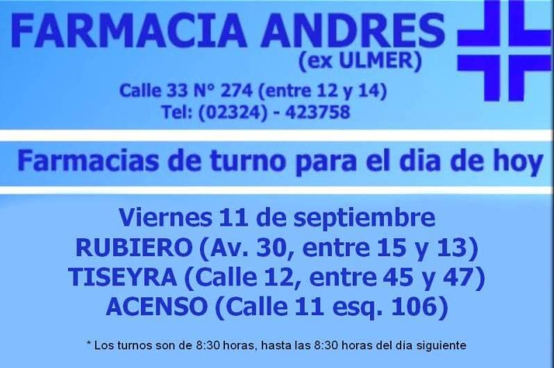 Farmacias de turno día viernes 11 de septiembre