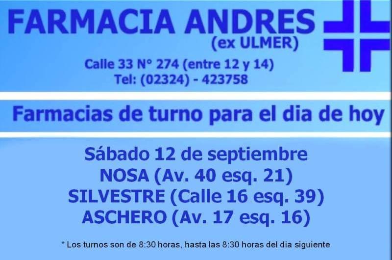 Farmacias de turno día sábado 12 de septiembre