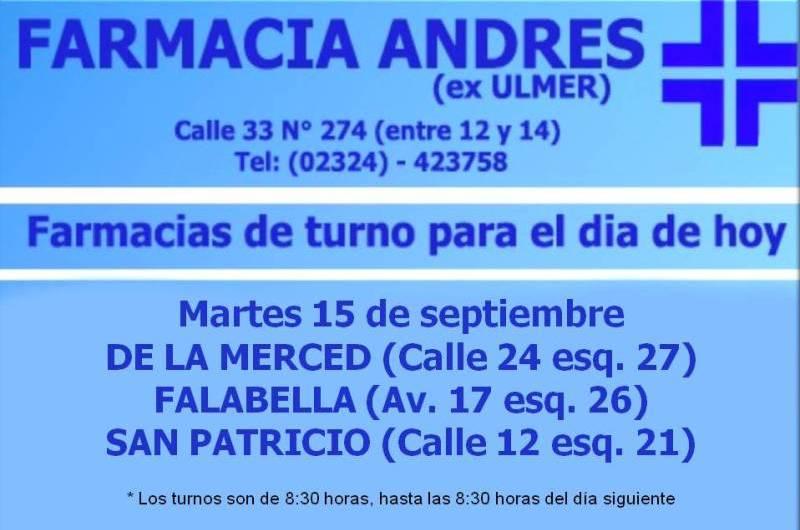 Farmacias de turno día martes 15 de septiembre