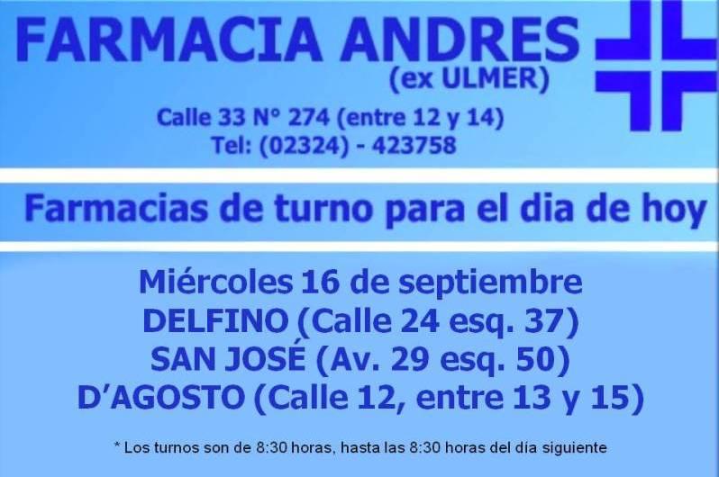 Farmacias de turno día miércoles 16 de septiembre