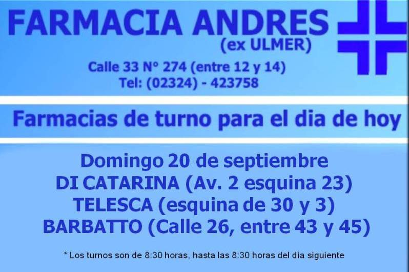 Farmacias de turno día domingo 20 de septiembre