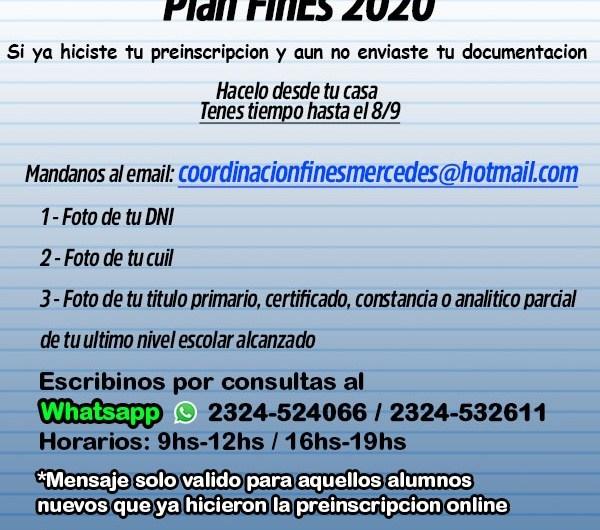 Inscripción abierta para nuevos alumnos del Plan FinEs 2020