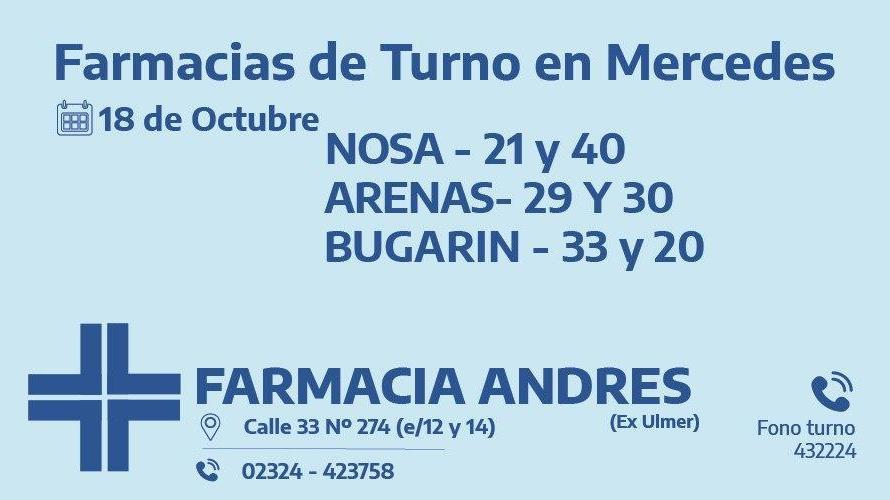 Farmacias de turno del domingo 18 de octubre