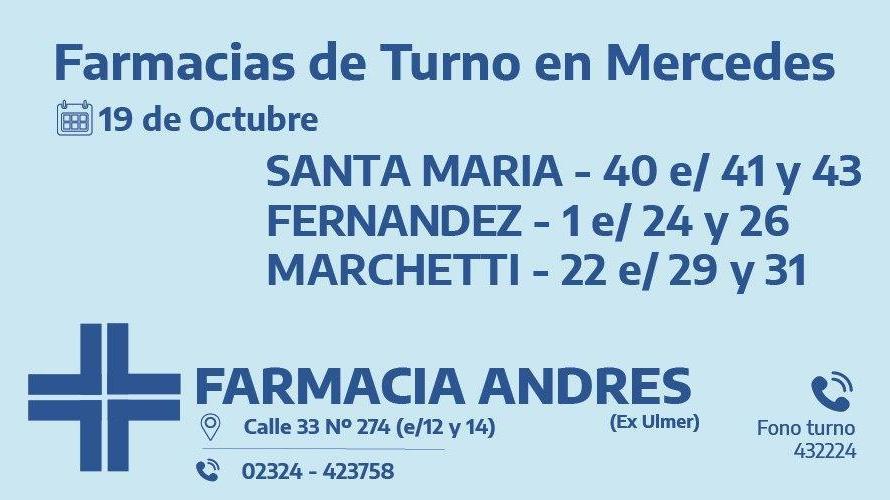 Farmacias de turno del lunes 19 de octubre
