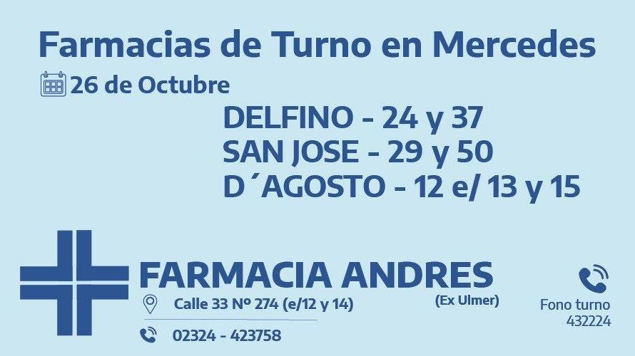 Farmacias de turno del lunes 26 de octubre