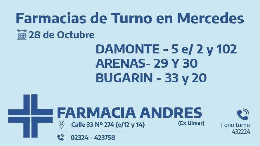 Farmacias de turno del día miércoles 28 de octubre
