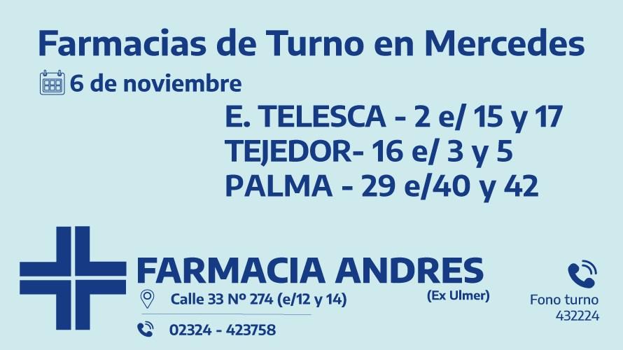Farmacias de turno del viernes 6 de noviembre