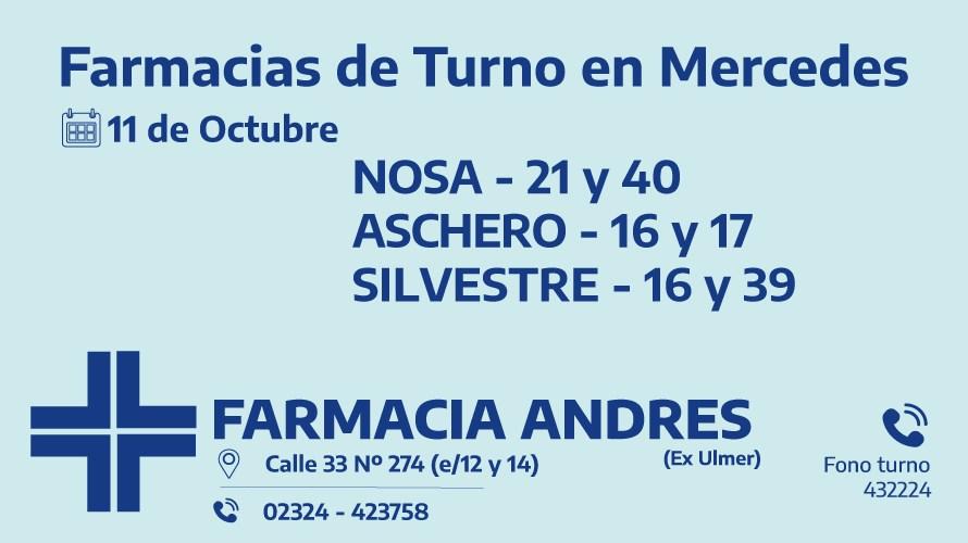 Farmacias de turno del miércoles 11 de noviembre