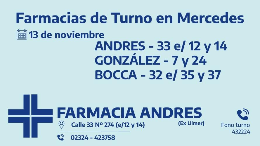 Farmacias de turno del viernes 13 de noviembre
