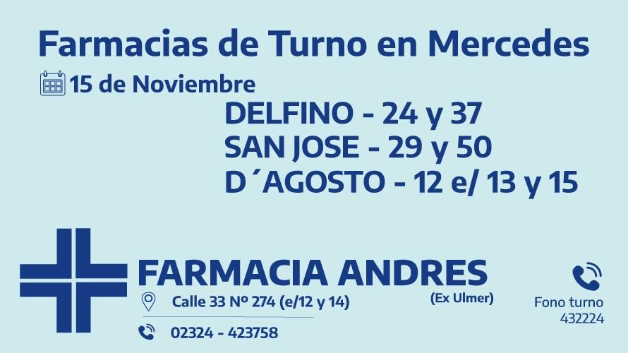 Farmacias de turno para el domingo 15 de noviembre