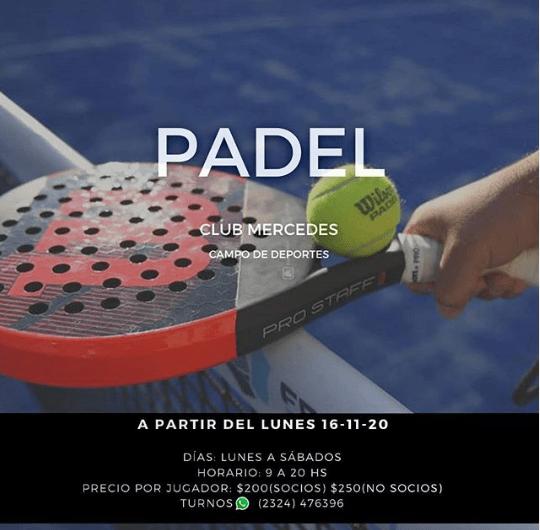 El Padel volvió en Club Mercedes, Ateneo entrena con las menores en hockey y Quilmes en basquet