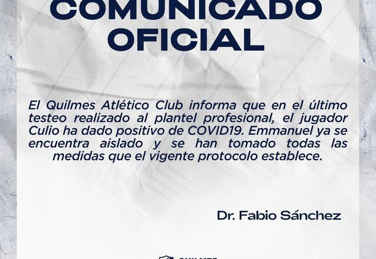 Juan Emmanuel Culio dio positivo de Coronavirus por segunda vez