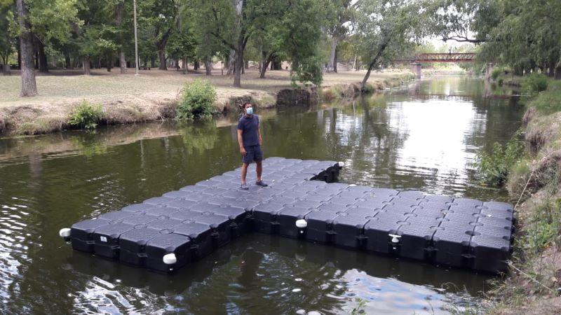 Instalan nuevo muelle en el Parque Municipal para actividades deportivas
