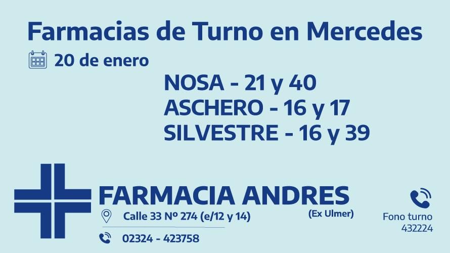 Farmacias de turno del miércoles 20 de enero