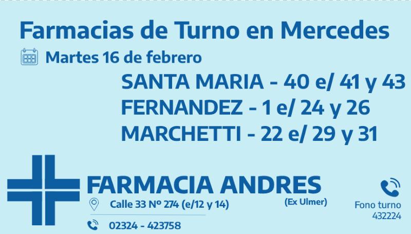 Farmacias de turno del martes 16 de febrero