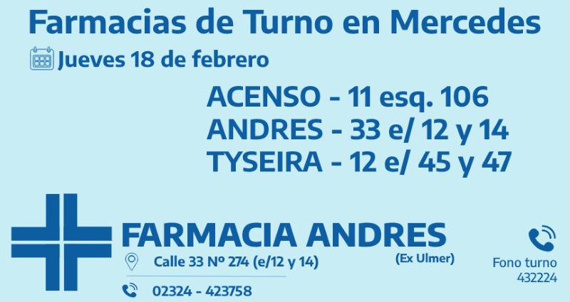 Farmacias de turno del jueves 18 de febrero