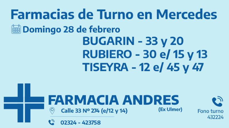 Farmacias de turno para el domingo 28 de febrero