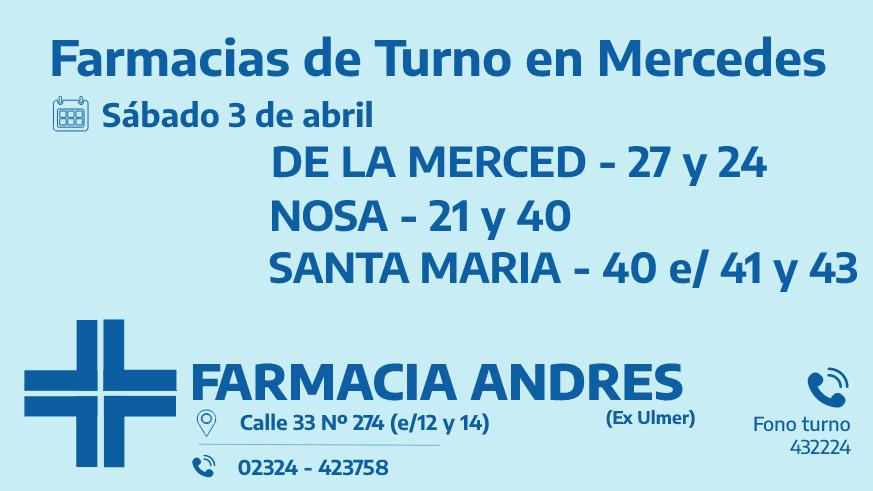 Farmacias de turno del sábado 3 de abril