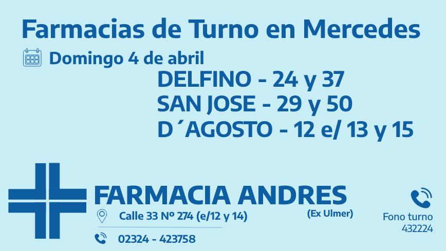 Farmacias de turno del domingo 4 de abril