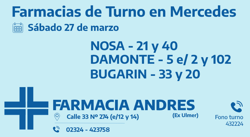 Farmacias de turno del sábado 27 de marzo