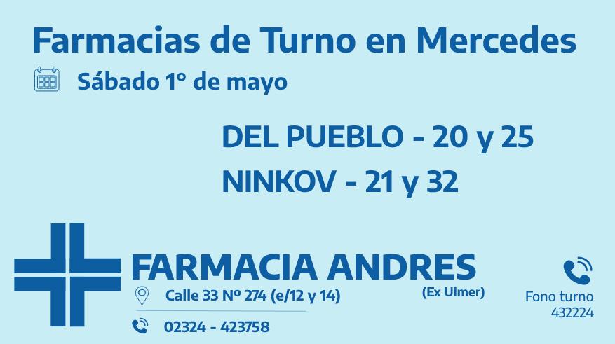 Farmacias de turno del sábado 1° de mayo