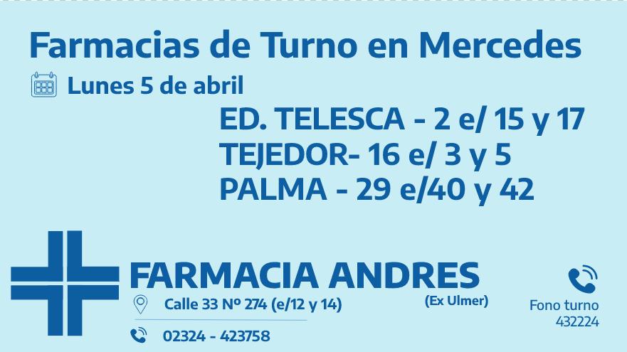 Farmacias de turno del lunes 5 de abril