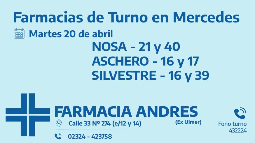 Farmacias de turno del martes 20 de abril