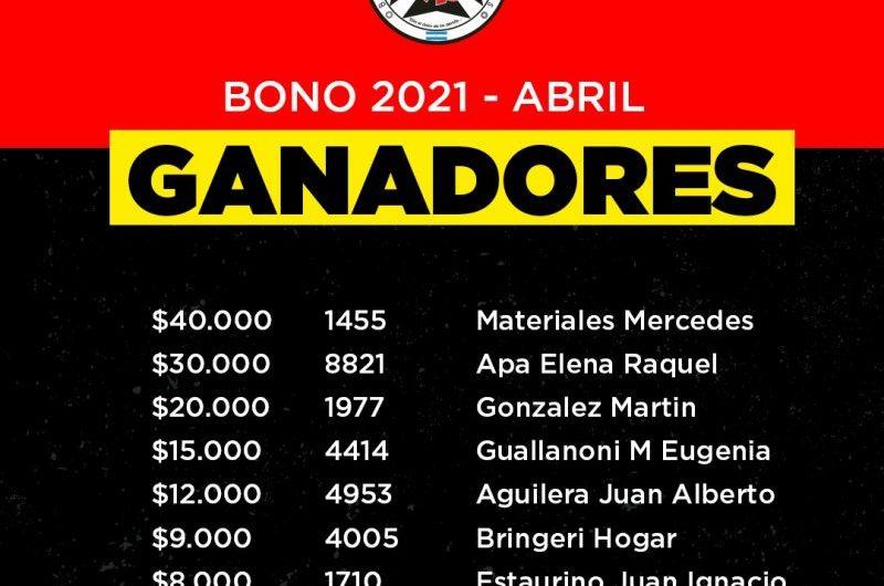 Bomberos anunció a los ganadores del bono de abril
