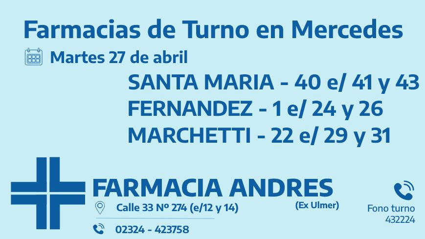 Farmacias de turno del martes 27 de abril