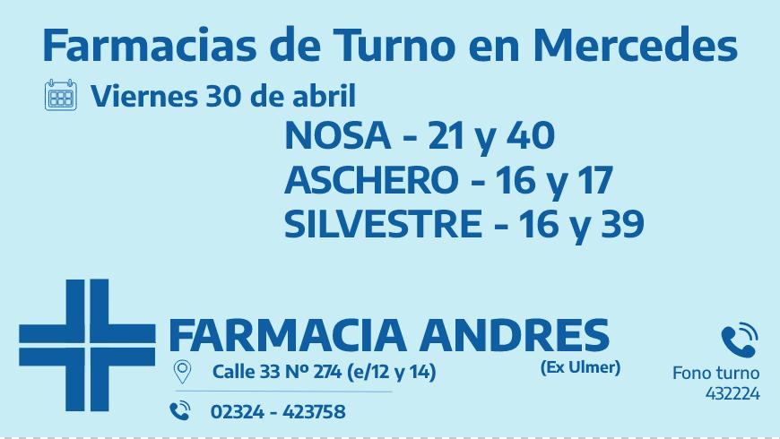 Farmacias de turno del viernes 30 de abril