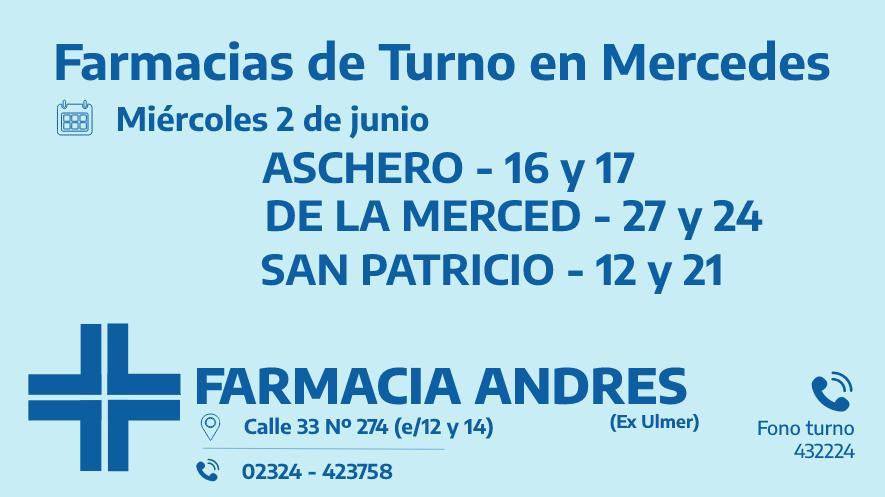 Farmacias de turno del miércoles 2 de junio