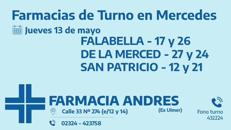Farmacias de turno del jueves 13 de mayo