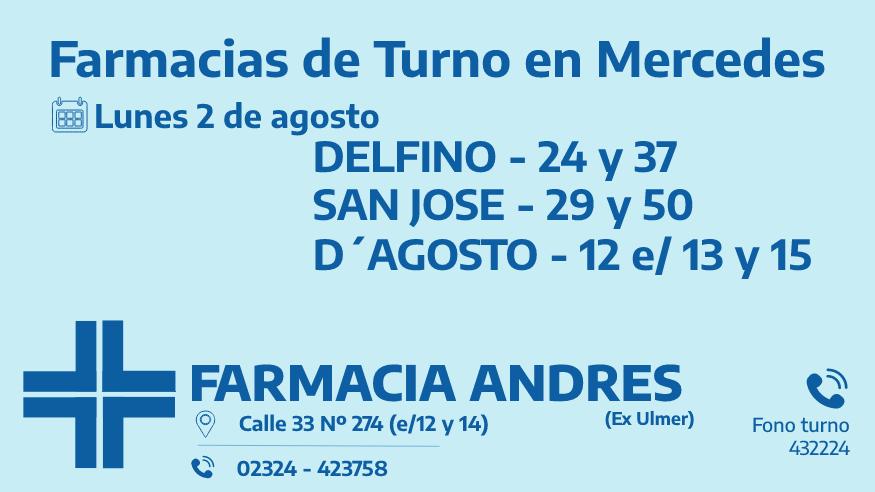 Farmacias de turno del lunes 2 de agosto